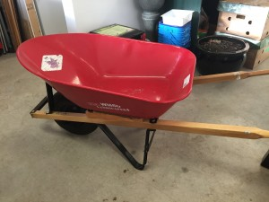 My gorgeous wheelbarrow, already taking up space in the garage